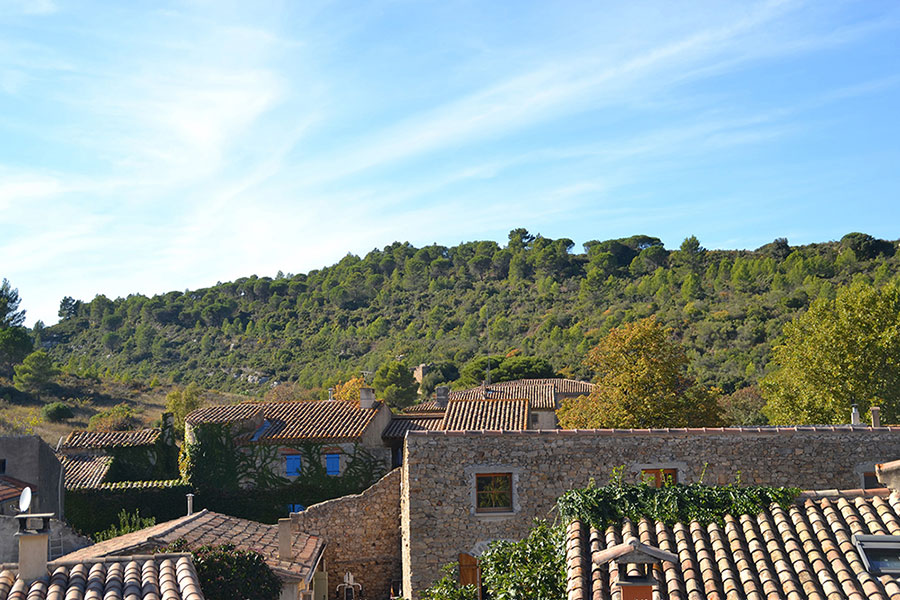View over the french terracotta tiled roofs